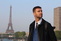 Elegant businessman in Paris, France.  royalty free stock photos