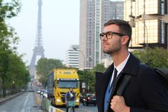 Elegant businessman in Paris, France.  royalty free stock image