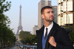 Elegant businessman in Paris, France.  stock images
