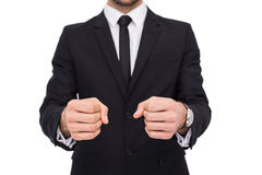 Elegant businessman in suit clenching his fists Stock Photography