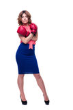 ELegant businesswoman in boxing gloves Stock Photography