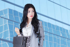 Elegant businesswoman carrying briefcase Stock Image