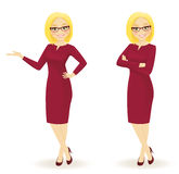 Elegant businesswoman. In different poses vector illustration