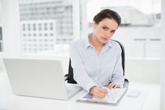 Elegant  businesswoman with graphs and laptop in office Royalty Free Stock Photos