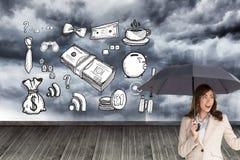 Elegant businesswoman holding black umbrella Stock Image