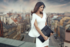 Elegant businesswoman on the roof of the building Stock Images
