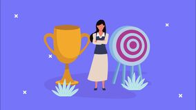 Elegant businesswoman with target and trophy animation