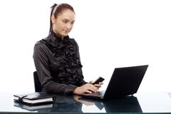 Elegant businesswoman working on laptop Stock Photos