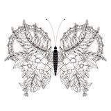 Elegant butterfly coloring page Royalty Free Stock Photography