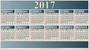 2017 elegant calendar. Illustration of 2017 calendar in inglish language Royalty Free Stock Photography