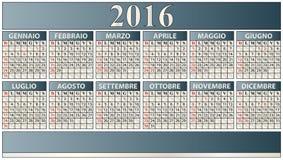 2016 elegant calendar. Illustration of 2016 calendar in italian language Royalty Free Stock Image