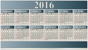 2016 elegant calendar. Illustration of 2016 year elegant calendar Stock Image