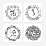 Cute hipster wreaths. Elegant calligraphic lettering phrases with wreaths. big collection of hand written christmas phrases and quotes Stock Photos