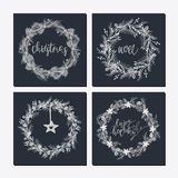 Cute hipster wreaths. Elegant calligraphic lettering phrases with wreaths. big collection of hand written christmas phrases and quotes Royalty Free Stock Photos