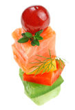 Elegant canape with salmon, dill twig and grape Royalty Free Stock Images