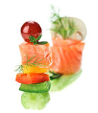 Elegant canape with salmon fish celery dill grape Stock Images