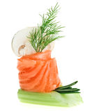 Elegant canape with salmon roll, celery, dill twig Royalty Free Stock Image