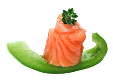 Elegant canape with salmon roll, paprika and thyme Royalty Free Stock Photography