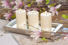 Elegant Candles And Flowers Royalty Free Stock Images