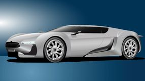 Elegant car. Vector illustration of white sport car isolated on blue background Stock Photos