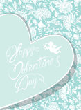 Elegant card with decorative florish pattern. Happy Valentines d. Ay calligraphic text. Design also for wedding, mothers day,birthday cards, invitations stock illustration
