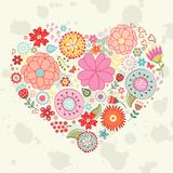 Elegant card with floral heart Stock Photos