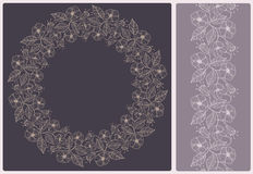 Elegant card with a floral lace pattern. Seamless border Stock Photos