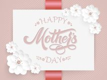 Elegant card with Happy Mothers Day lettering and floral elements. Elegant modern handwritten calligraphy. With flowers. Amd floral ornaments. Mom day. For stock illustration