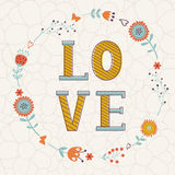 Elegant card with Love word in floral wreath Royalty Free Stock Photos