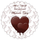 Elegant card with ornament, melting chocolate heart with the inscription International Women`s Day on March 8th. Suitable for invi. Tations. Vector stock illustration