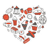 Elegant card with sweets and dessrts in a shape of a heart Royalty Free Stock Photo