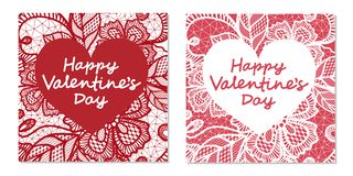 Elegant card Valentine`s Day with flowers lace vector illustration
