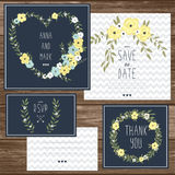 Elegant cards collection with floral bouquets and wreath design elements Royalty Free Stock Images