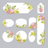 Floral spring templates with cute flowers . For romantic and easter design, announcements, greeting cards, posters. Elegant cards with decorative multi colored Stock Photos