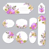 Floral spring templates with cute flowers . For romantic and easter design, announcements, greeting cards, posters. Elegant cards with decorative multi colored Stock Photography