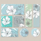 Elegant cards with floral poppy bouquets, design elements. Royalty Free Stock Image