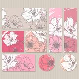 Elegant cards with floral poppy bouquets, design elements. Royalty Free Stock Images