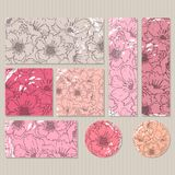 Elegant cards with floral poppy bouquets, design elements. Stock Image