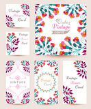 Elegant Cards with Multi Colored Flowers and Pattern Stock Photos