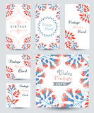 Elegant Cards with Multi Colored Flowers and Pattern Royalty Free Stock Photo