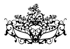 Elegant carnival mask black and white vector design. Elegant carnival mask with rose flowers for masquerade ball - black and white vector design Stock Image
