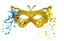 Elegant carnival mask for the Mardi Gras festival, isolated on white background royalty free stock photo