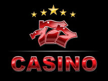 Elegant Casino logo. Luxury logo for Casino with stars and lucky seven slot font royalty free illustration