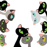 Elegant Cat Heads Peeking Design Set Flat Vector Illustration Isolated on White. All elements are grouped together logically and easy to edit vector illustration