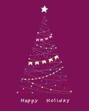 Elegant celebratory tree. Elegant celebratory fur-tree decorated with tags and bulbs Royalty Free Stock Image