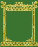 Elegant Celtic Knot Frame. Golden Celtic knot pattern in a frame, on a green background Stock Photo