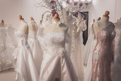 Elegant ceremony dresses on display at Si' Sposaitalia in Milan, Italy Royalty Free Stock Photo