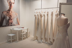 Elegant ceremony dresses on display at Si' Sposaitalia in Milan, Italy Royalty Free Stock Photography