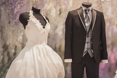Elegant ceremony dresses on display at Si' Sposaitalia in Milan, Italy Royalty Free Stock Image