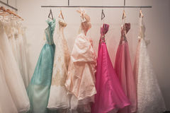 Elegant ceremony dresses on display at Si' Sposaitalia in Milan, Italy Royalty Free Stock Photos